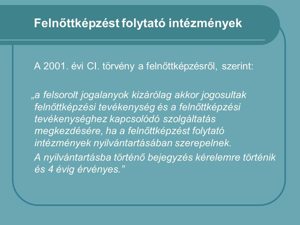 Felnőttképzést folytató intézmények A 2001. évi CI.