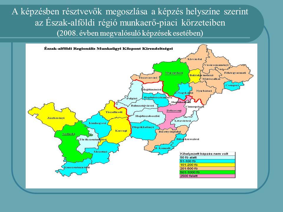A képzésben résztvevők megoszlása a képzés helyszíne szerint az Észak-alföldi régió munkaerő-piaci körzeteiben (2008. évben megvalósuló képzések eseté
