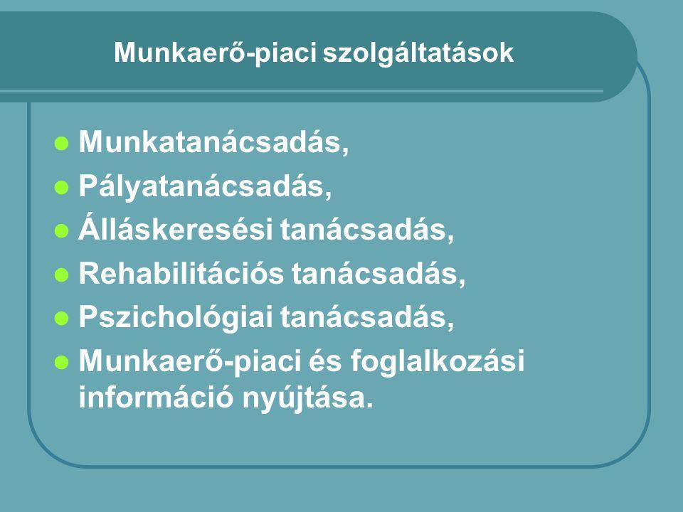 Munkaerő-piaci szolgáltatások Munkatanácsadás, Pályatanácsadás, Álláskeresési tanácsadás, Rehabilitációs tanácsadás, Pszichológiai tanácsadás, Munkaerő-piaci és foglalkozási információ nyújtása.