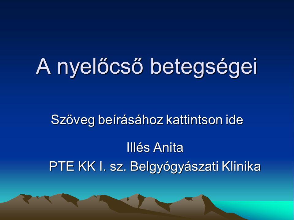 Szöveg beírásához kattintson ide A nyelőcső betegségei Illés Anita PTE KK I.