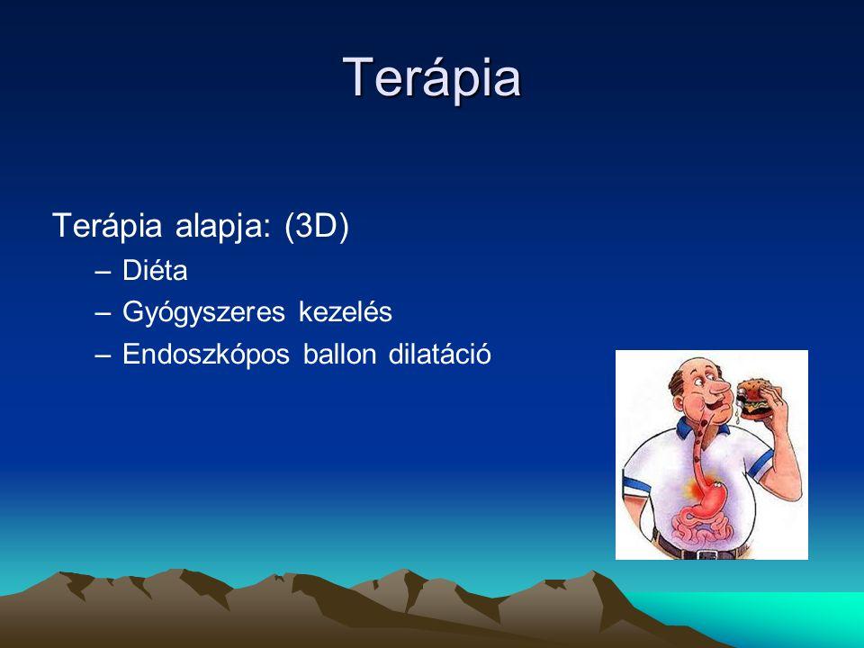 Terápia Terápia alapja: (3D) –Diéta –Gyógyszeres kezelés –Endoszkópos ballon dilatáció
