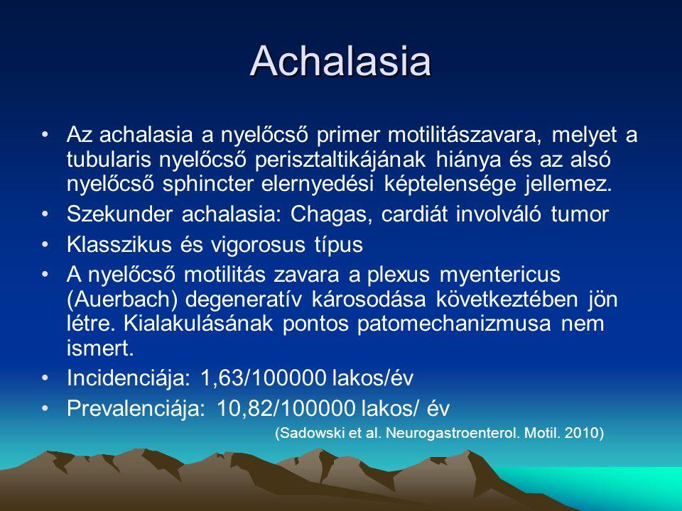 Achalasia Az achalasia a nyelőcső primer motilitászavara, melyet a tubularis nyelőcső perisztaltikájának hiánya és az alsó nyelőcső sphincter elernyedési képtelensége jellemez.