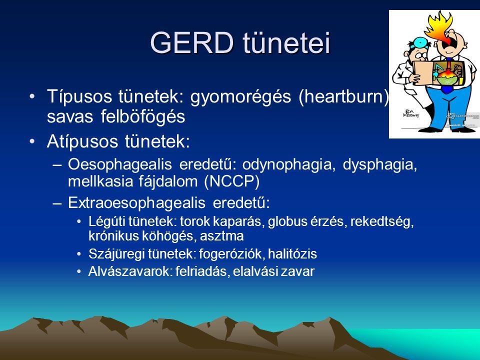 GERD tünetei Típusos tünetek: gyomorégés (heartburn), savas felböfögés Atípusos tünetek: –Oesophagealis eredetű: odynophagia, dysphagia, mellkasia fájdalom (NCCP) –Extraoesophagealis eredetű: Légúti tünetek: torok kaparás, globus érzés, rekedtség, krónikus köhögés, asztma Szájüregi tünetek: fogeróziók, halitózis Alvászavarok: felriadás, elalvási zavar