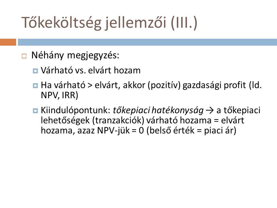 Tőkeköltség jellemzői (III.)  Néhány megjegyzés:  Várható vs. elvárt hozam  Ha várható > elvárt, akkor (pozitív) gazdasági profit (ld. NPV, IRR) 