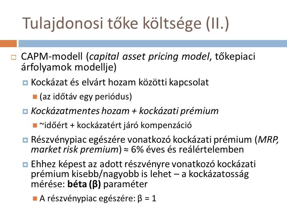 Tulajdonosi tőke költsége (II.)  CAPM-modell (capital asset pricing model, tőkepiaci árfolyamok modellje)  Kockázat és elvárt hozam közötti kapcsolat (az időtáv egy periódus)  Kockázatmentes hozam + kockázati prémium ~időért + kockázatért járó kompenzáció  Részvénypiac egészére vonatkozó kockázati prémium (MRP, market risk premium) ≈ 6% éves és reálértelemben  Ehhez képest az adott részvényre vonatkozó kockázati prémium kisebb/nagyobb is lehet – a kockázatosság mérése: béta (β) paraméter A részvénypiac egészére: β = 1