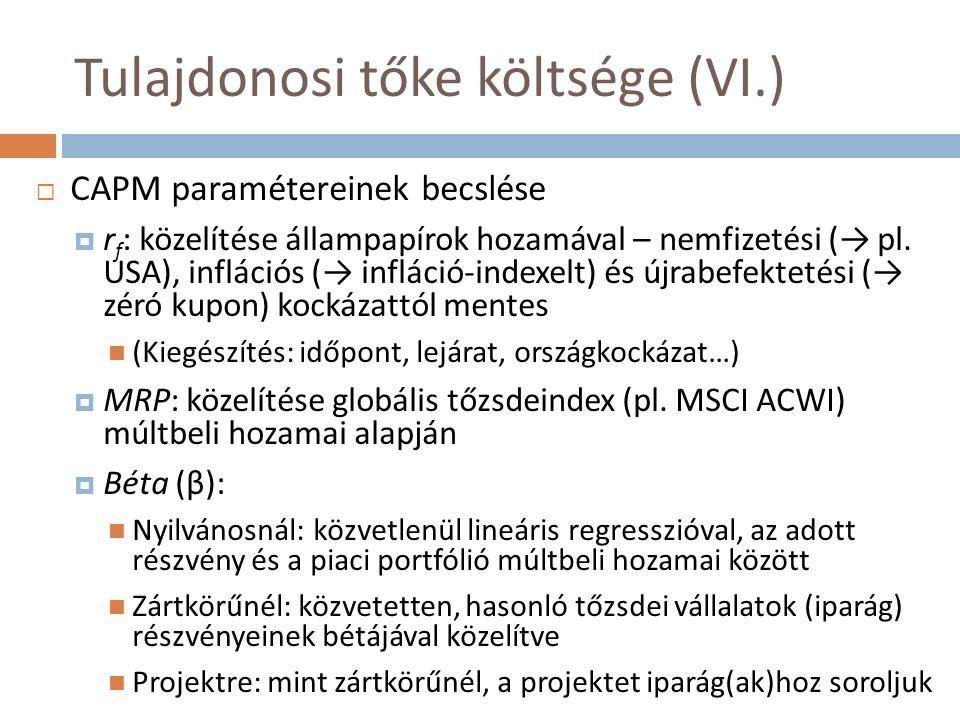 Tulajdonosi tőke költsége (VI.)  CAPM paramétereinek becslése  r f : közelítése állampapírok hozamával – nemfizetési (→ pl.