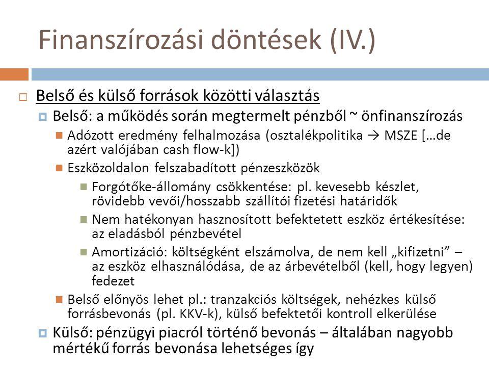 Finanszírozási döntések (IV.)  Belső és külső források közötti választás  Belső: a működés során megtermelt pénzből ~ önfinanszírozás Adózott eredmé