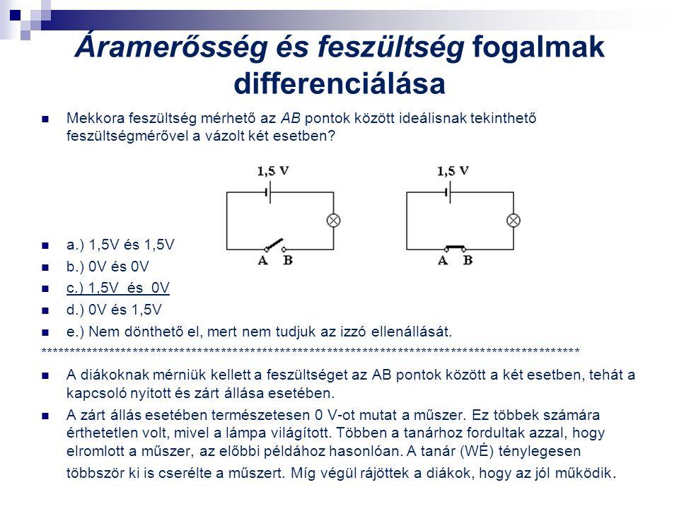 Áramerősség és feszültség fogalmak differenciálása Mekkora feszültség mérhető az AB pontok között ideálisnak tekinthető feszültségmérővel a vázolt két esetben.