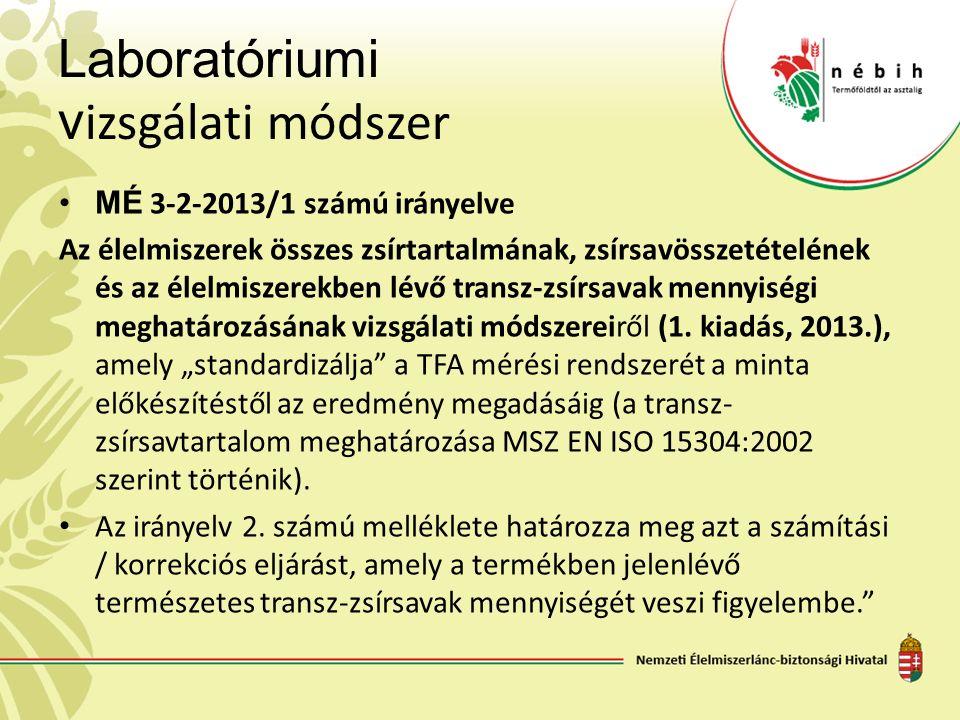 Laboratóriumi v izsgálati módszer MÉ 3-2-2013/1 számú irányelve Az élelmiszerek összes zsírtartalmának, zsírsavösszetételének és az élelmiszerekben lé