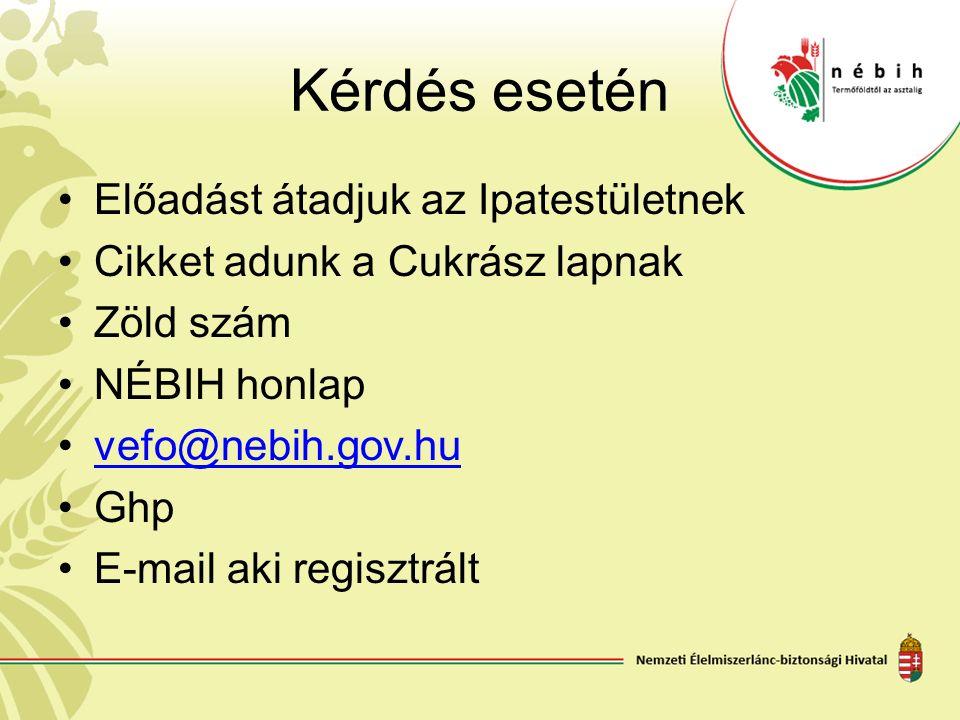 Kérdés esetén Előadást átadjuk az Ipatestületnek Cikket adunk a Cukrász lapnak Zöld szám NÉBIH honlap vefo@nebih.gov.hu Ghp E-mail aki regisztrált
