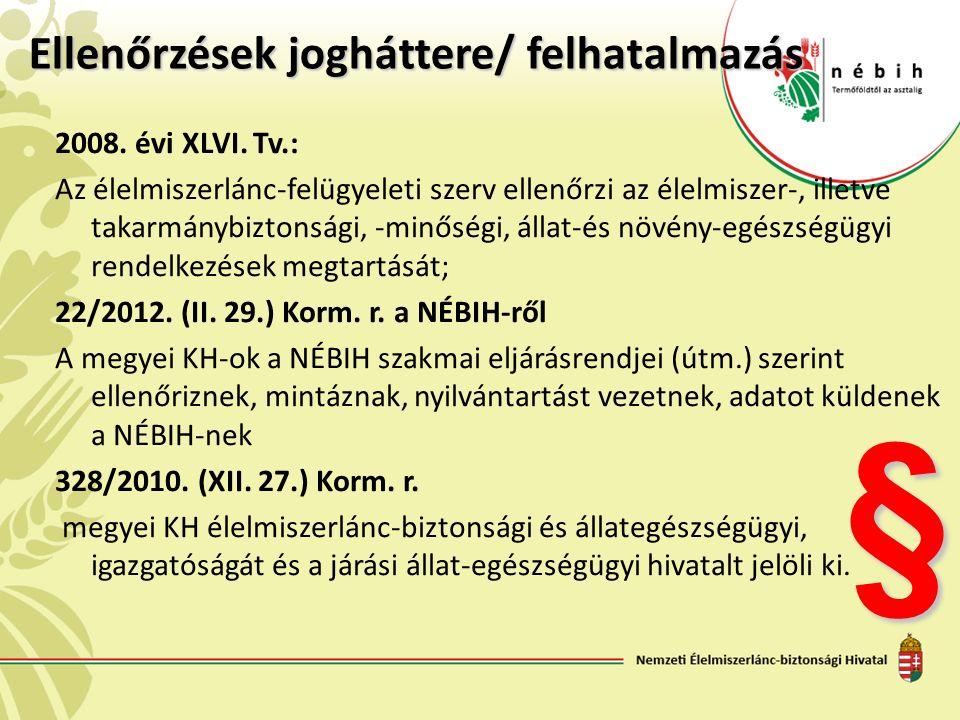 Ellenőrzések jogháttere/ felhatalmazás 2008. évi XLVI. Tv.: Az élelmiszerlánc-felügyeleti szerv ellenőrzi az élelmiszer-, illetve takarmánybiztonsági,