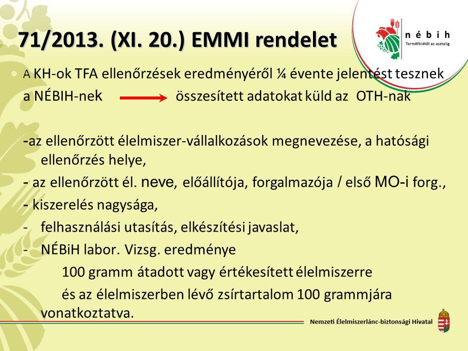 71/2013. (XI. 20.) EMMI rendelet A KH-ok TFA ellenőrzések eredményéről ¼ évente jelentést tesznek a NÉBIH-ne k összesített adatokat küld az OTH-nak -