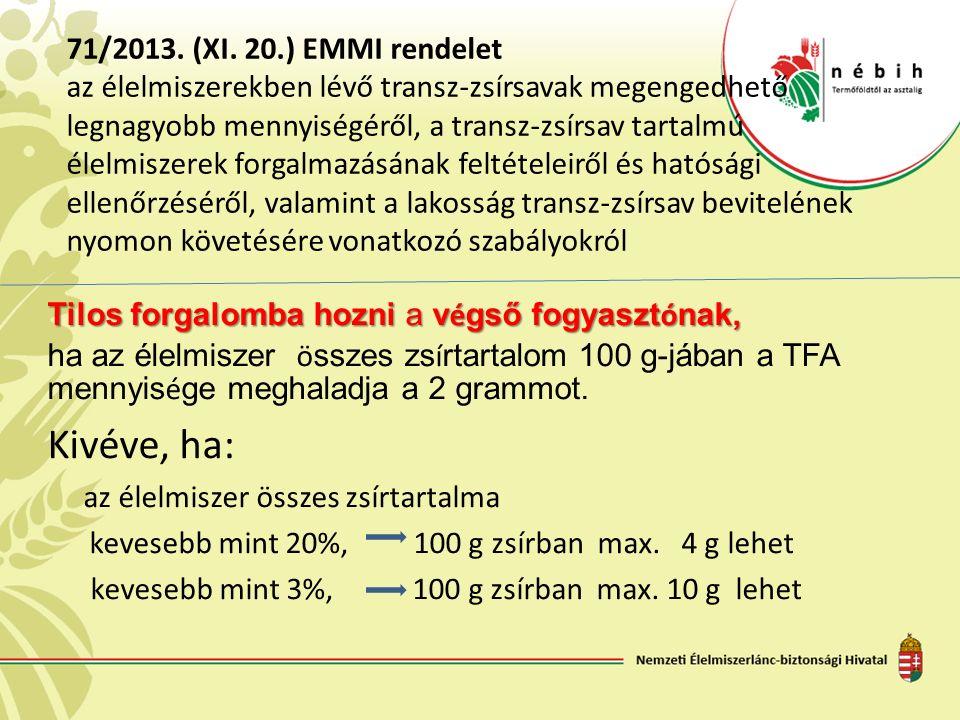 71/2013. (XI. 20.) EMMI rendelet az élelmiszerekben lévő transz-zsírsavak megengedhető legnagyobb mennyiségéről, a transz-zsírsav tartalmú élelmiszere