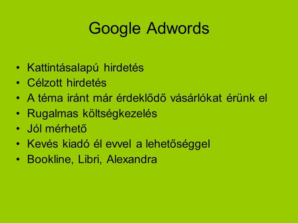 Google Adwords Kattintásalapú hirdetés Célzott hirdetés A téma iránt már érdeklődő vásárlókat érünk el Rugalmas költségkezelés Jól mérhető Kevés kiadó él evvel a lehetőséggel Bookline, Libri, Alexandra