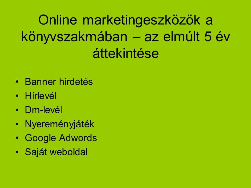 Online marketingeszközök a könyvszakmában – az elmúlt 5 év áttekintése Banner hirdetés Hírlevél Dm-levél Nyereményjáték Google Adwords Saját weboldal