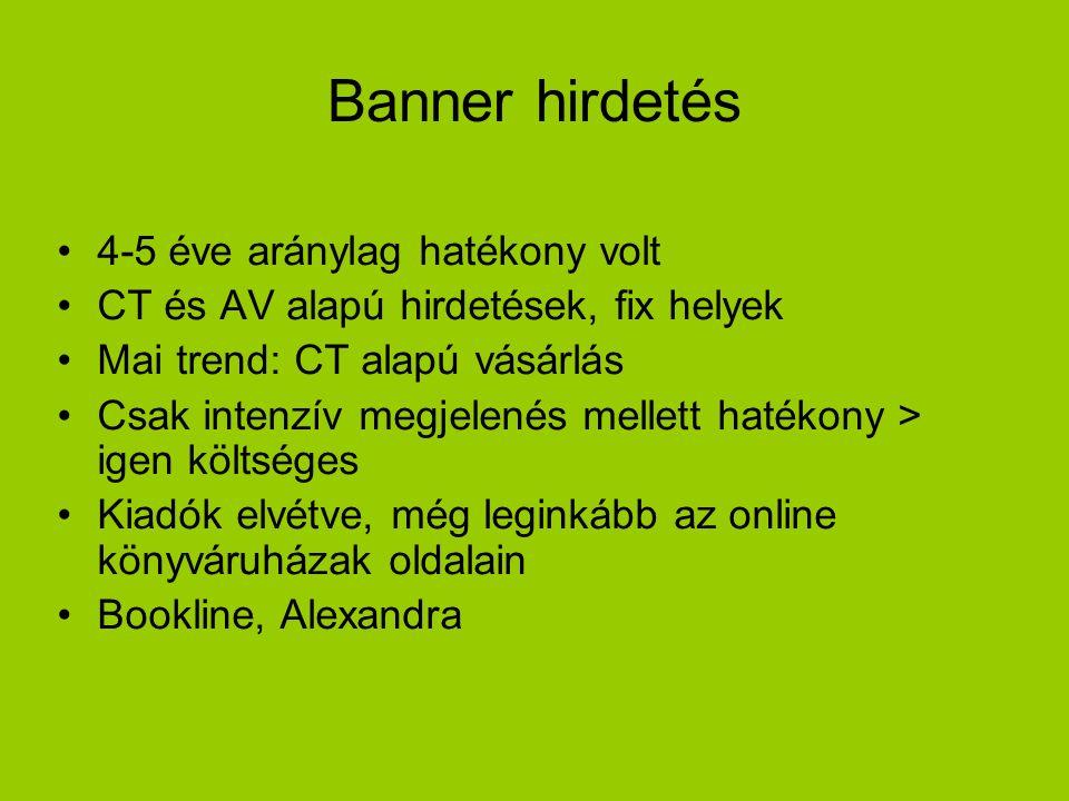 Banner hirdetés 4-5 éve aránylag hatékony volt CT és AV alapú hirdetések, fix helyek Mai trend: CT alapú vásárlás Csak intenzív megjelenés mellett hatékony > igen költséges Kiadók elvétve, még leginkább az online könyváruházak oldalain Bookline, Alexandra