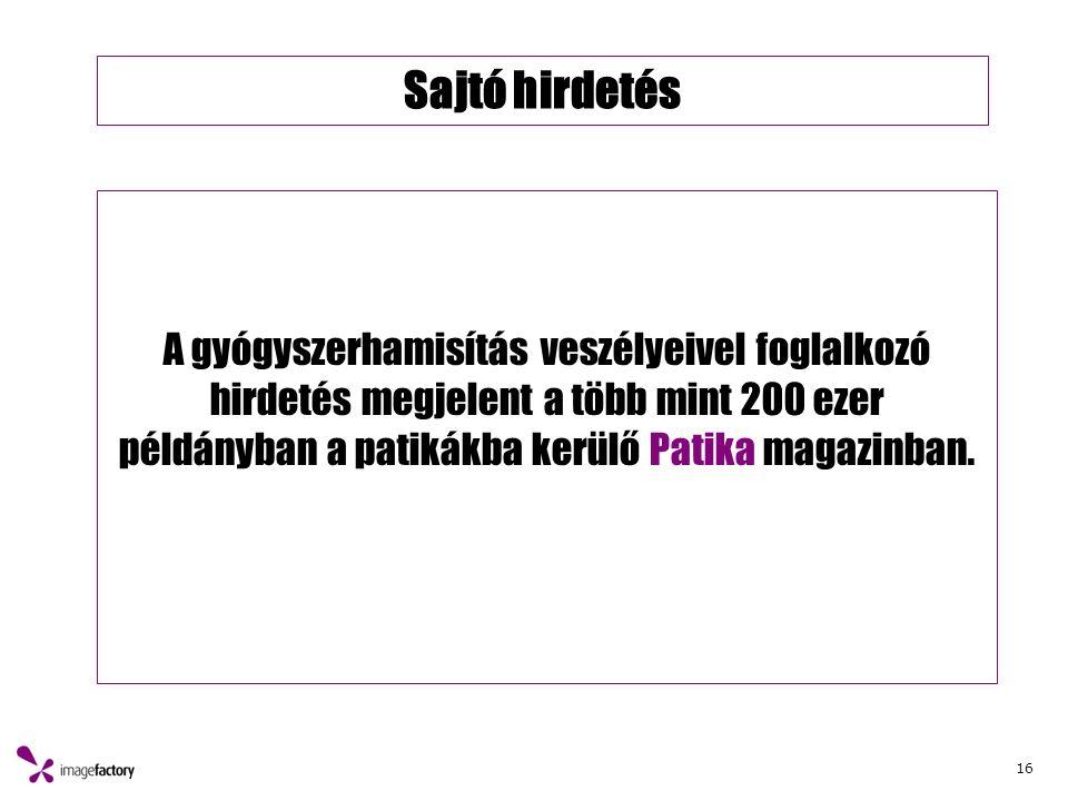 16 Sajtó hirdetés A gyógyszerhamisítás veszélyeivel foglalkozó hirdetés megjelent a több mint 200 ezer példányban a patikákba kerülő Patika magazinban.