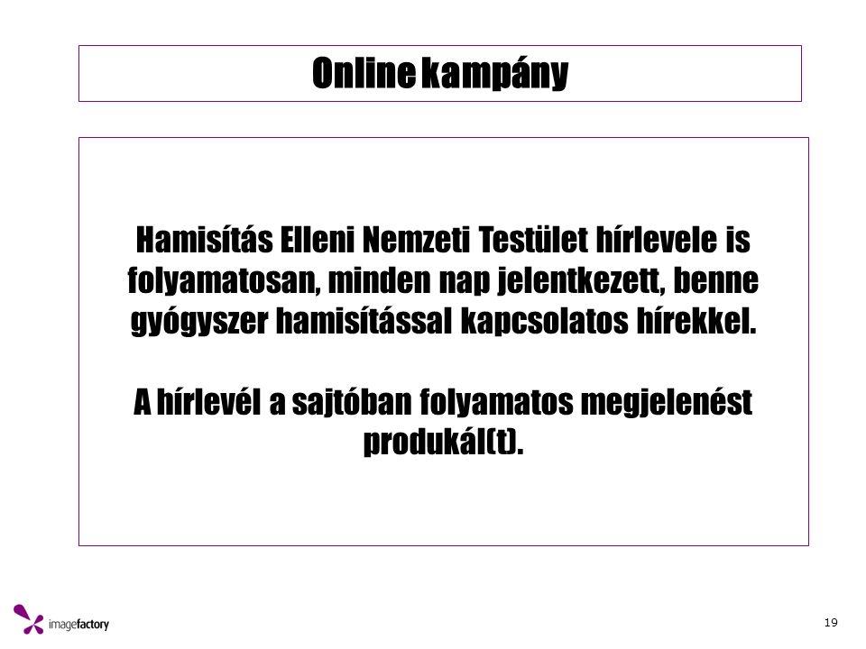 19 Online kampány Hamisítás Elleni Nemzeti Testület hírlevele is folyamatosan, minden nap jelentkezett, benne gyógyszer hamisítással kapcsolatos hírekkel.