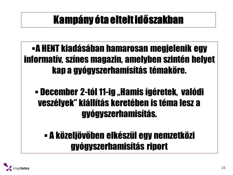 25 Kampány óta eltelt időszakban  A HENT kiadásában hamarosan megjelenik egy informatív, színes magazin, amelyben szintén helyet kap a gyógyszerhamisítás témaköre.
