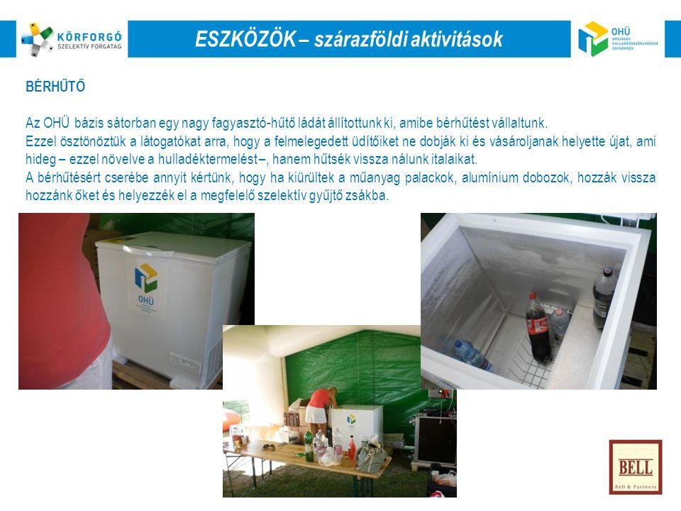BÉRHŰTŐ Az OHÜ bázis sátorban egy nagy fagyasztó-hűtő ládát állítottunk ki, amibe bérhűtést vállaltunk.