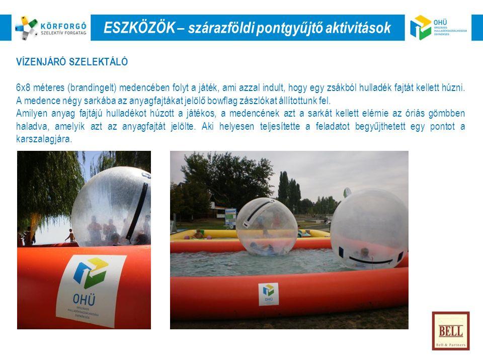 VÍZENJÁRÓ SZELEKTÁLÓ 6x8 méteres (brandingelt) medencében folyt a játék, ami azzal indult, hogy egy zsákból hulladék fajtát kellett húzni.