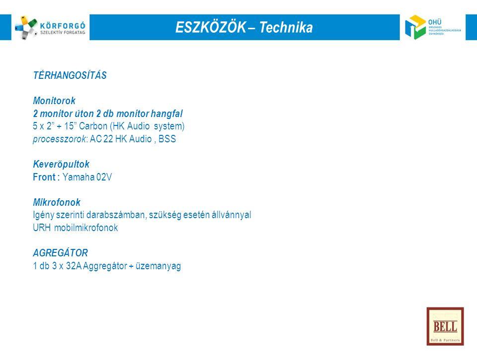 TÉRHANGOSÍTÁS Monitorok 2 monitor úton 2 db monitor hangfal 5 x 2 + 15 Carbon (HK Audio system) processzorok : AC 22 HK Audio, BSS Keverőpultok Front : Yamaha 02V Mikrofonok Igény szerinti darabszámban, szükség esetén állvánnyal URH mobilmikrofonok AGREGÁTOR 1 db 3 x 32A Aggregátor + üzemanyag ESZKÖZÖK – Technika
