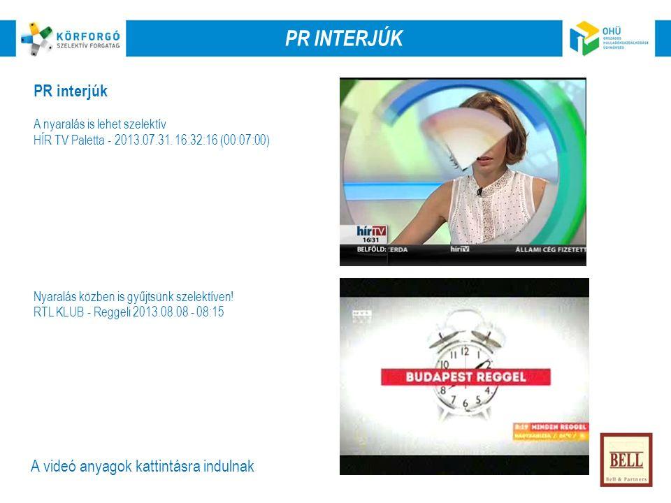 PR interjúk A nyaralás is lehet szelektív HÍR TV Paletta - 2013.07.31.