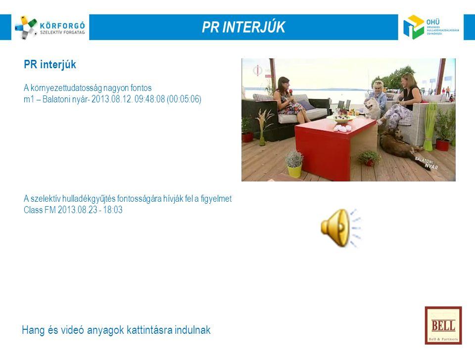 PR INTERJÚK PR interjúk A környezettudatosság nagyon fontos m1 – Balatoni nyár- 2013.08.12.