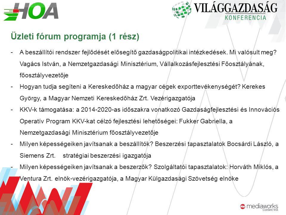 Üzleti fórum programja (1 rész) -A beszállítói rendszer fejlődését elősegítő gazdaságpolitikai intézkedések.