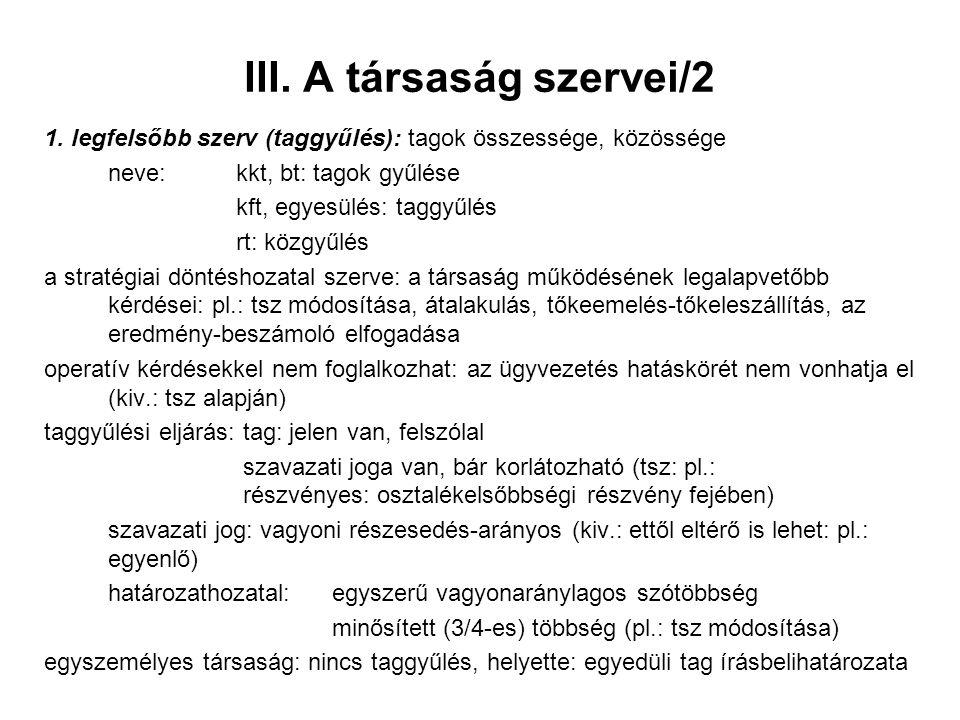III. A társaság szervei/2 1.