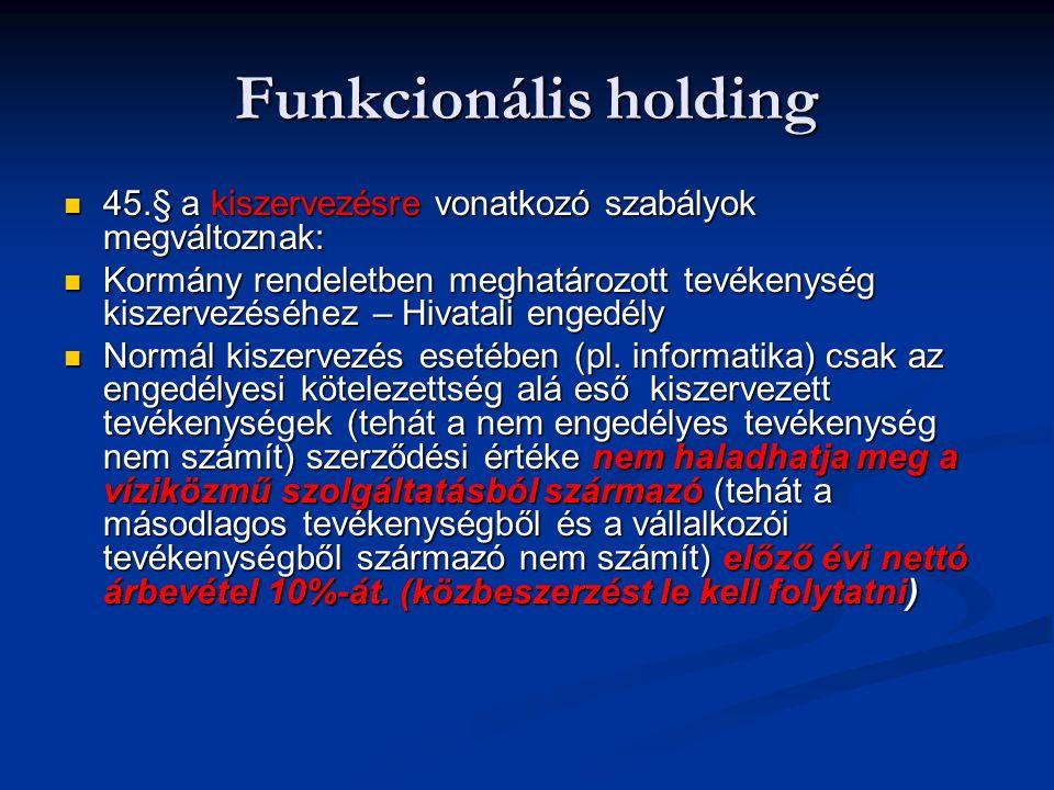 Funkcionális holding 45.§ a kiszervezésre vonatkozó szabályok megváltoznak: 45.§ a kiszervezésre vonatkozó szabályok megváltoznak: Kormány rendeletben meghatározott tevékenység kiszervezéséhez – Hivatali engedély Kormány rendeletben meghatározott tevékenység kiszervezéséhez – Hivatali engedély Normál kiszervezés esetében (pl.