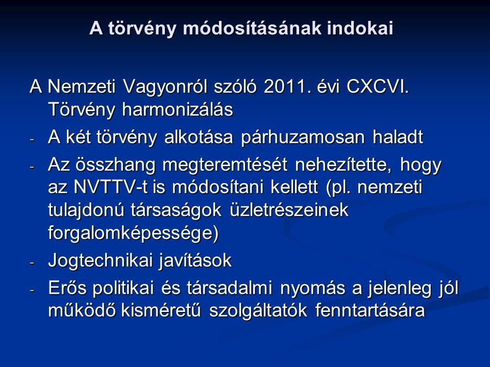 A törvény módosításának indokai A Nemzeti Vagyonról szóló 2011. évi CXCVI. Törvény harmonizálás - A két törvény alkotása párhuzamosan haladt - Az össz