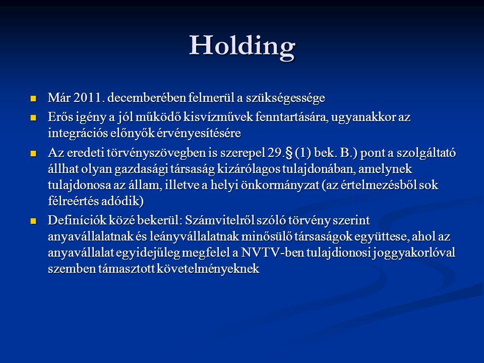 Holding Már 2011. decemberében felmerül a szükségessége Már 2011.