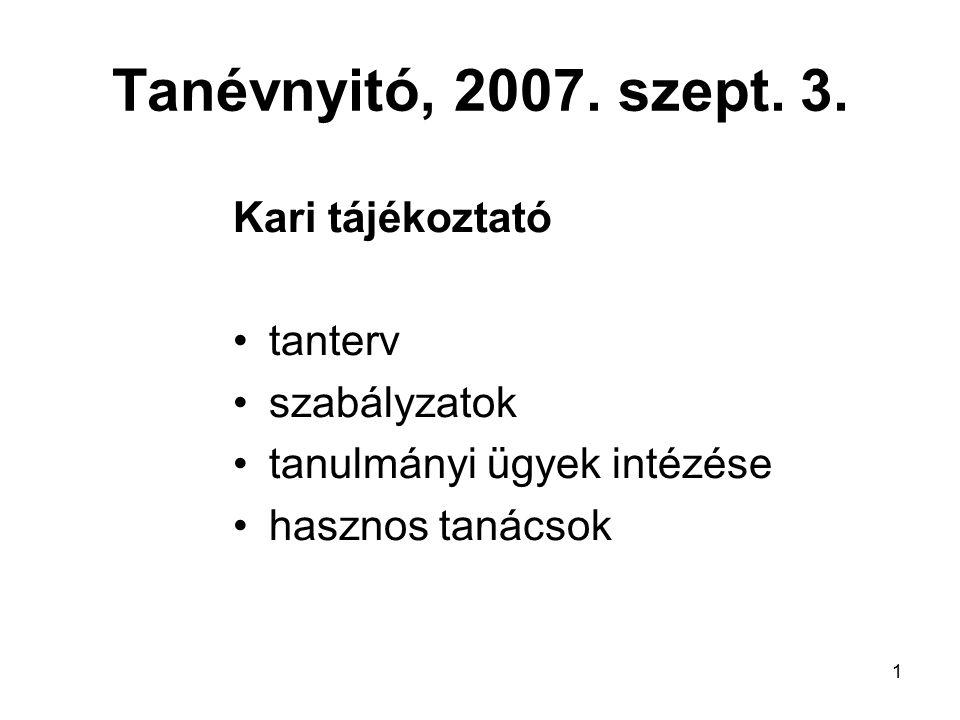1 Tanévnyitó, 2007. szept. 3. Kari tájékoztató tanterv szabályzatok tanulmányi ügyek intézése hasznos tanácsok