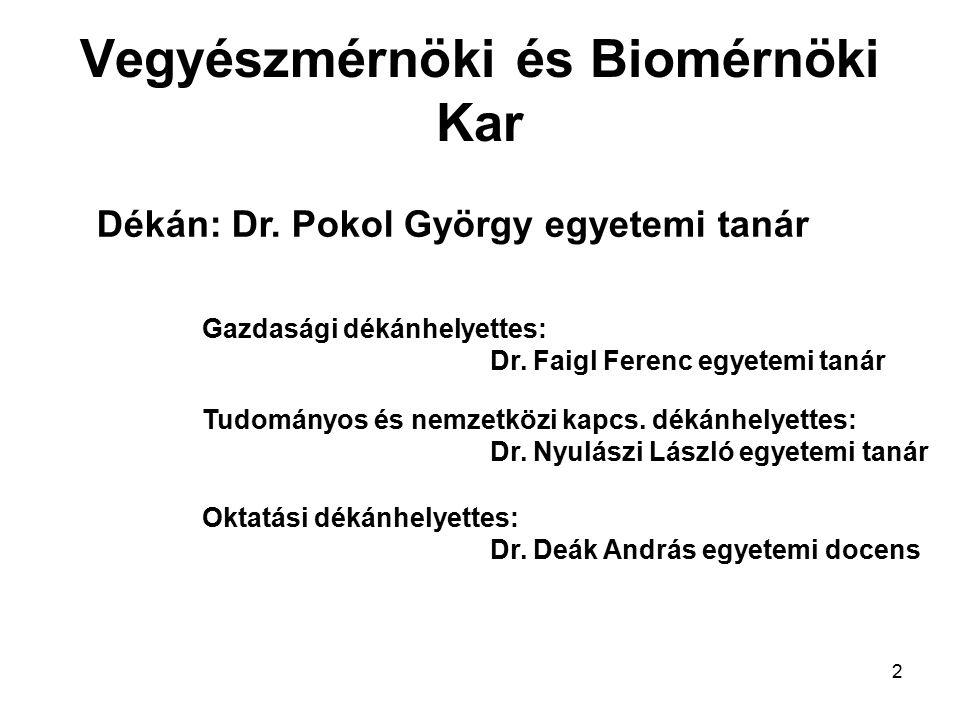 2 Vegyészmérnöki és Biomérnöki Kar Dékán: Dr. Pokol György egyetemi tanár Gazdasági dékánhelyettes: Dr. Faigl Ferenc egyetemi tanár Tudományos és nemz