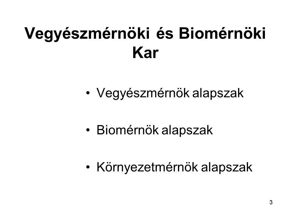 3 Vegyészmérnöki és Biomérnöki Kar Vegyészmérnök alapszak Biomérnök alapszak Környezetmérnök alapszak