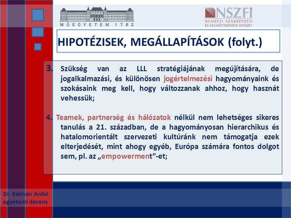 HIPOTÉZISEK, MEGÁLLAPÍTÁSOK (folyt.) Dr. Kálmán Anikó egyetemi docens 3.