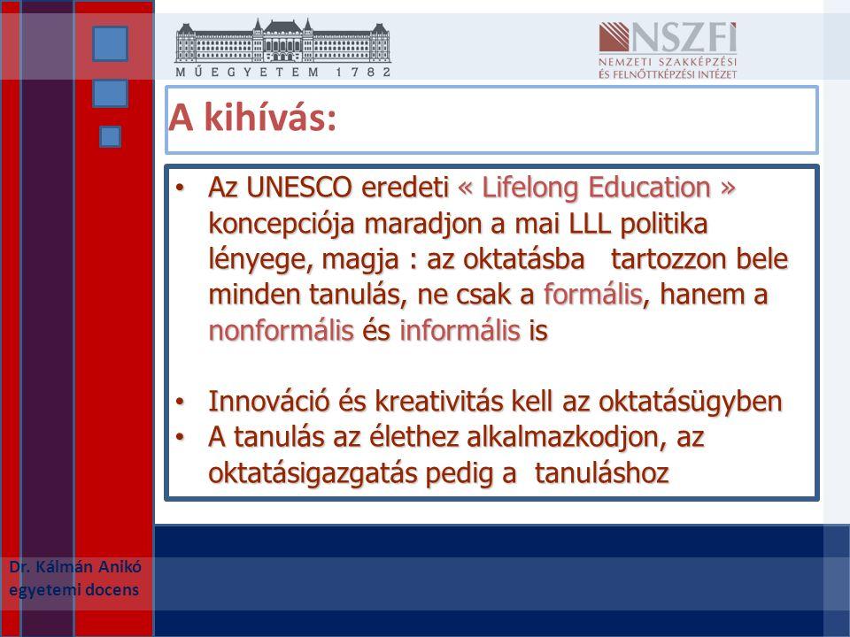 A kihívás: Az UNESCO eredeti « Lifelong Education » koncepciója maradjon a mai LLL politika lényege, magja : az oktatásba tartozzon bele minden tanulás, ne csak a formális, hanem a nonformális és informális is Az UNESCO eredeti « Lifelong Education » koncepciója maradjon a mai LLL politika lényege, magja : az oktatásba tartozzon bele minden tanulás, ne csak a formális, hanem a nonformális és informális is Innováció és kreativitás kell az oktatásügyben Innováció és kreativitás kell az oktatásügyben A tanulás az élethez alkalmazkodjon, az oktatásigazgatás pedig a tanuláshoz A tanulás az élethez alkalmazkodjon, az oktatásigazgatás pedig a tanuláshoz Dr.