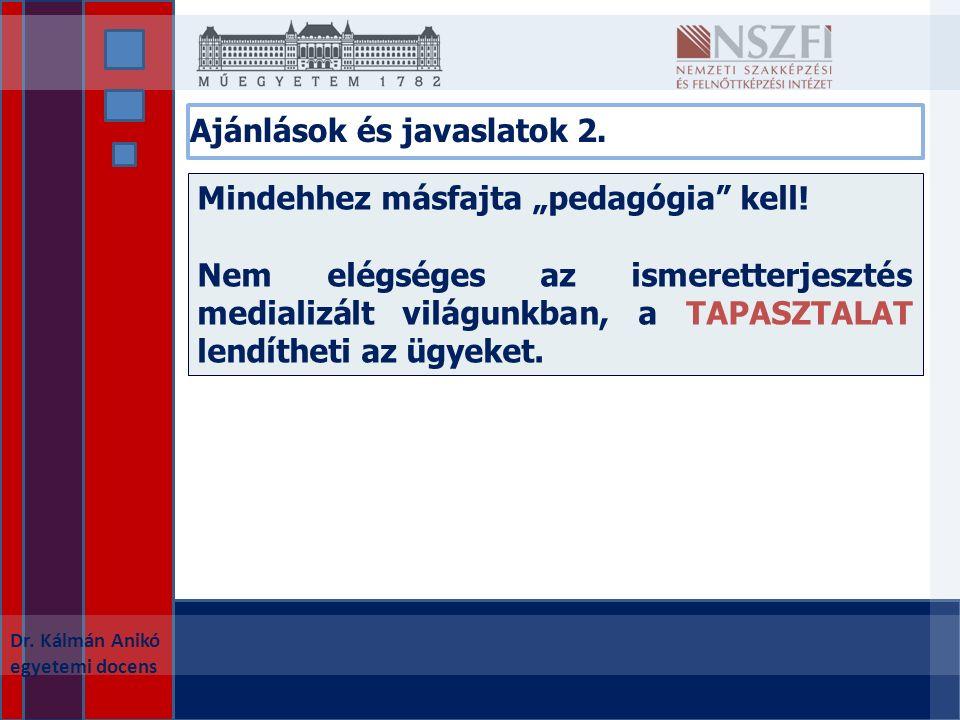 """Ajánlások és javaslatok 2. Dr. Kálmán Anikó egyetemi docens Mindehhez másfajta """"pedagógia kell."""