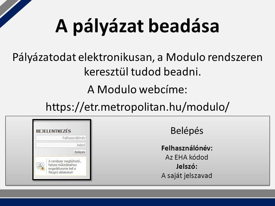 A pályázat beadása Pályázatodat elektronikusan, a Modulo rendszeren keresztül tudod beadni.