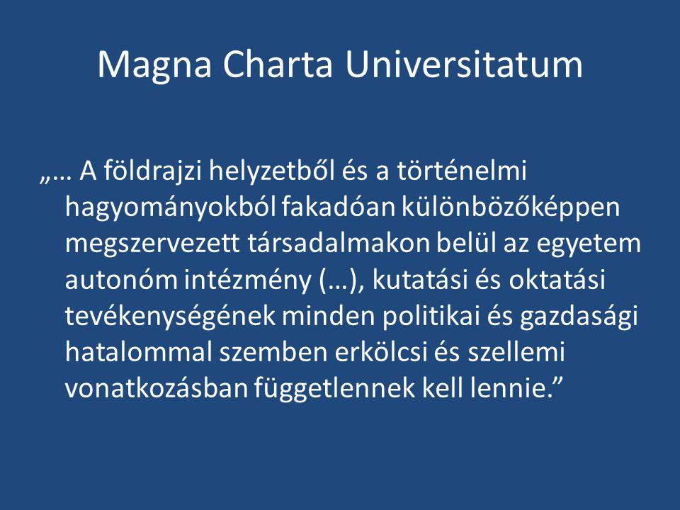 """Magna Charta Universitatum """"… A földrajzi helyzetből és a történelmi hagyományokból fakadóan különbözőképpen megszervezett társadalmakon belül az egyetem autonóm intézmény (…), kutatási és oktatási tevékenységének minden politikai és gazdasági hatalommal szemben erkölcsi és szellemi vonatkozásban függetlennek kell lennie."""