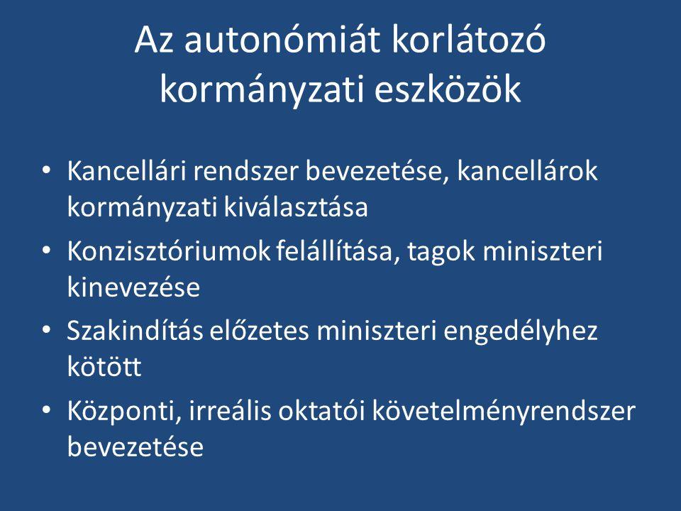 Az autonómiát korlátozó kormányzati eszközök Kancellári rendszer bevezetése, kancellárok kormányzati kiválasztása Konzisztóriumok felállítása, tagok miniszteri kinevezése Szakindítás előzetes miniszteri engedélyhez kötött Központi, irreális oktatói követelményrendszer bevezetése
