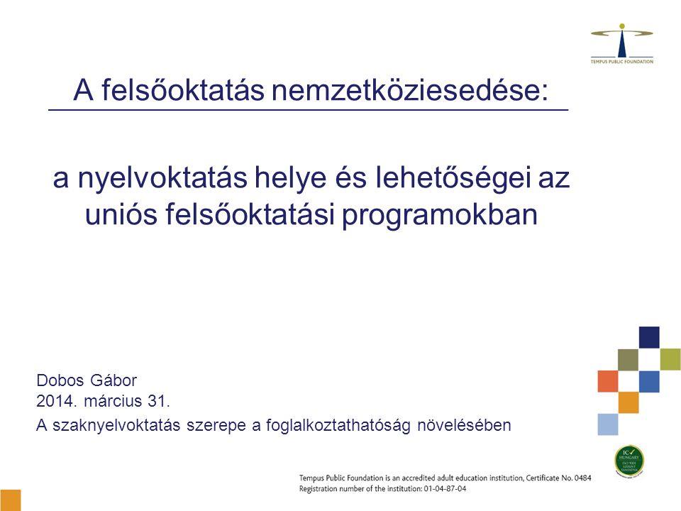 A felsőoktatás nemzetköziesedése: a nyelvoktatás helye és lehetőségei az uniós felsőoktatási programokban Dobos Gábor 2014.