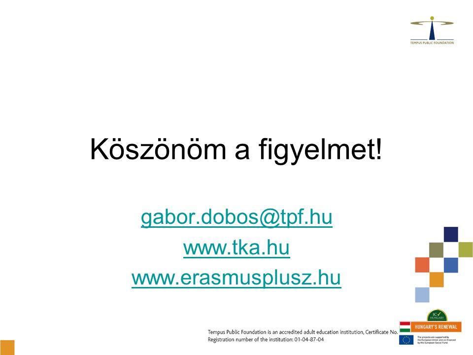 Köszönöm a figyelmet! gabor.dobos@tpf.hu www.tka.hu www.erasmusplusz.hu