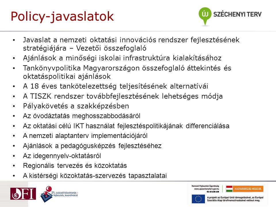 Policy-javaslatok Javaslat a nemzeti oktatási innovációs rendszer fejlesztésének stratégiájára – Vezetői összefoglaló Ajánlások a minőségi iskolai infrastruktúra kialakításához Tankönyvpolitika Magyarországon összefoglaló áttekintés és oktatáspolitikai ajánlások A 18 éves tankötelezettség teljesítésének alternatívái A TISZK rendszer továbbfejlesztésének lehetséges módja Pályakövetés a szakképzésben Az óvodáztatás meghosszabbodásáról Az oktatási célú IKT használat fejlesztéspolitikájának differenciálása A nemzeti alaptanterv implementációjáról Ajánlások a pedagógusképzés fejlesztéséhez Az idegennyelv-oktatásról Regionális tervezés és közoktatás A kistérségi közoktatás-szervezés tapasztalatai