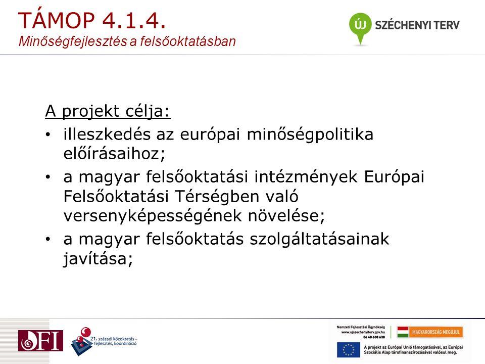 A projekt célja: illeszkedés az európai minőségpolitika előírásaihoz; a magyar felsőoktatási intézmények Európai Felsőoktatási Térségben való versenyképességének növelése; a magyar felsőoktatás szolgáltatásainak javítása; TÁMOP 4.1.4.