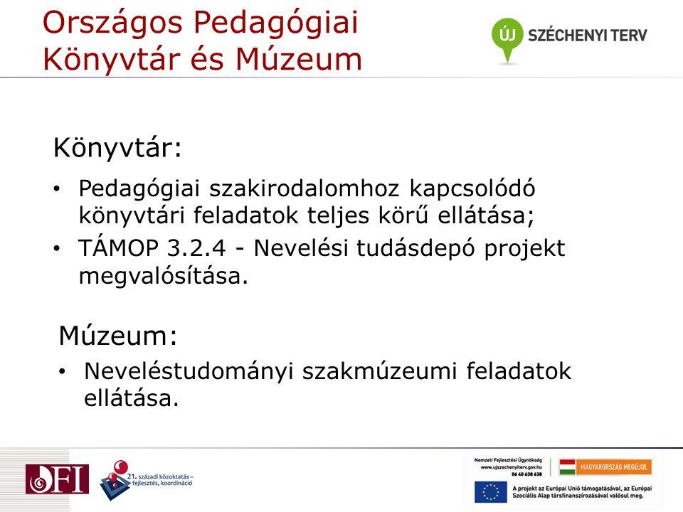 Könyvtár: Pedagógiai szakirodalomhoz kapcsolódó könyvtári feladatok teljes körű ellátása; TÁMOP 3.2.4 - Nevelési tudásdepó projekt megvalósítása.