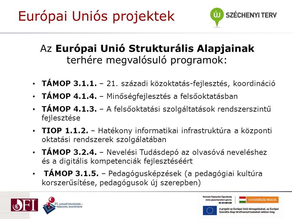 Az Európai Unió Strukturális Alapjainak terhére megvalósuló programok: TÁMOP 3.1.1. – 21. századi közoktatás-fejlesztés, koordináció TÁMOP 4.1.4. – Mi