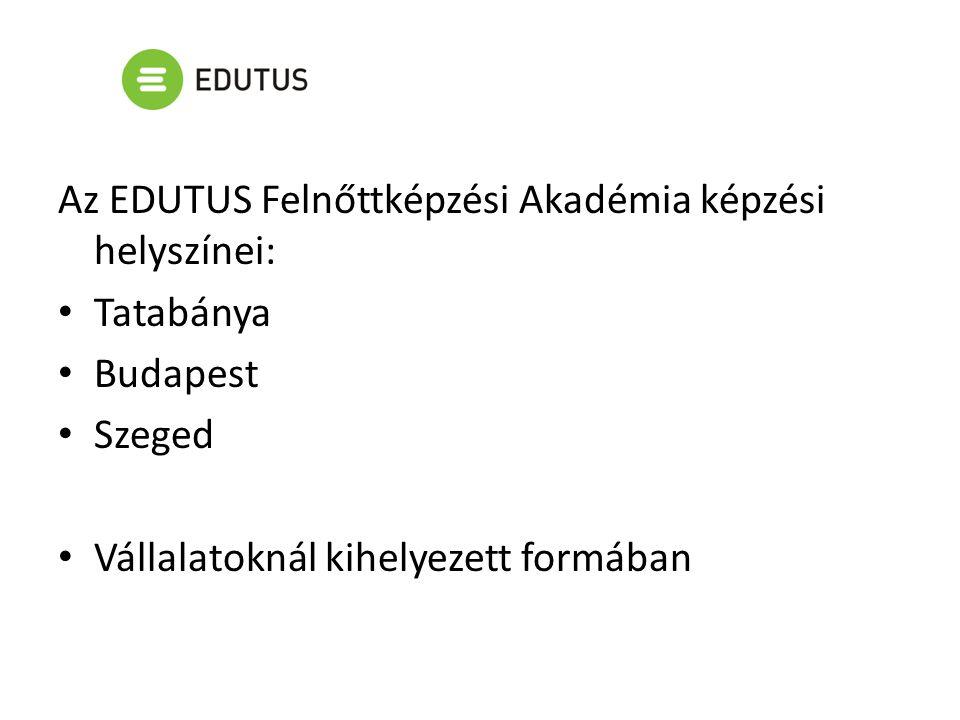 Az EDUTUS Felnőttképzési Akadémia képzési helyszínei: Tatabánya Budapest Szeged Vállalatoknál kihelyezett formában