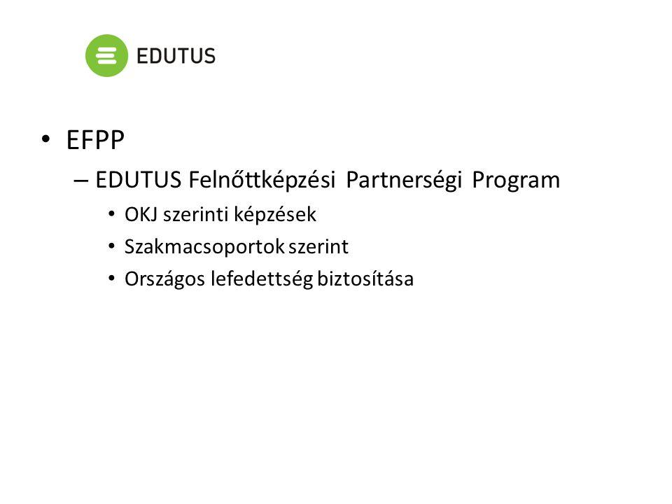 EFPP – EDUTUS Felnőttképzési Partnerségi Program OKJ szerinti képzések Szakmacsoportok szerint Országos lefedettség biztosítása
